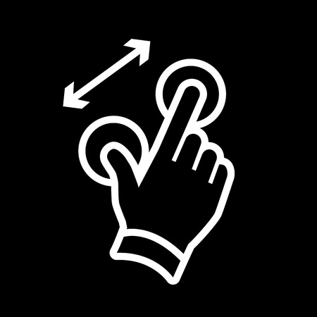 vector modern flat design hand pinch zoom in gesture icon white isolated on black background Illustration