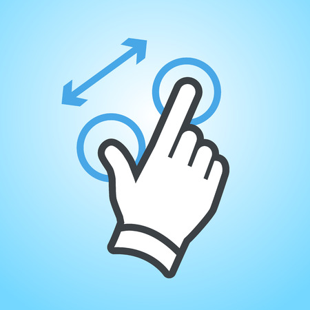 zoom in: vector modern flat design hand pinch zoom in gesture icon isolated on blue background