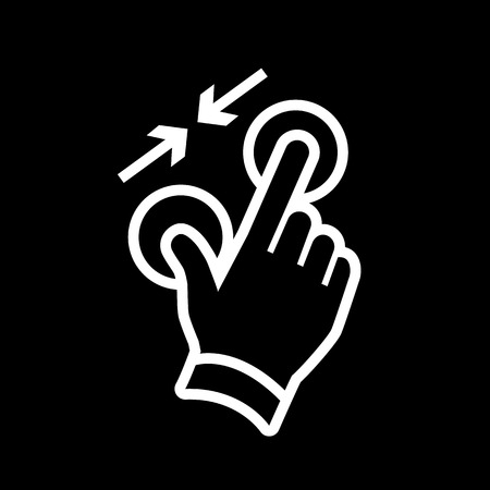 vector modern flat design hand pinch zoom out gesture icon white isolated on black background