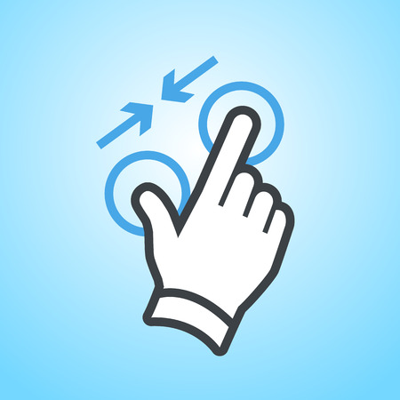 griping: vector modern flat design hand pinch zoom out gesture icon isolated on blue background