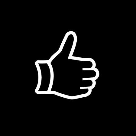 thump up: modern flat design thump up hand gesture icon white isolated on black