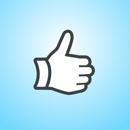 griping: modern flat design thump up hand gesture icon isolated on blue  Illustration