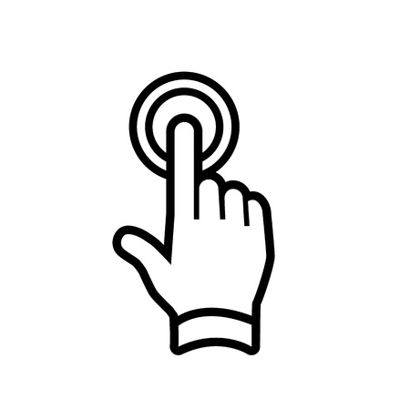 modern flat design hand double tapping gesture with one finger icon black isolated on white
