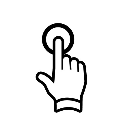 modern flat design hand one finger tapping gesture icon black isolated on white