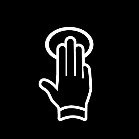 griping: vector modern flat design hand tapping and swipe gesture icon with three fingers white isolated on black background