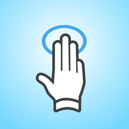 touch: modern flat design hand tapping and swipe gesture icon with three fingers isolated on blue