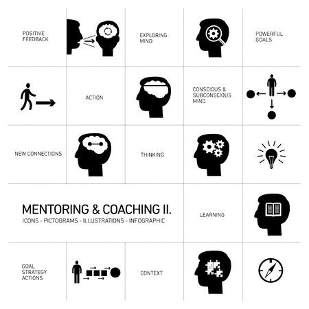 coaching: mentorat et de coaching douces ic�nes de comp�tences sc�nographie plat modernes illustrations en noir infographie isol� sur blanc