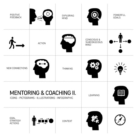 mentoring: mentoring and coaching soft skills icons set modern flat design black illustrations infographic isolated on white