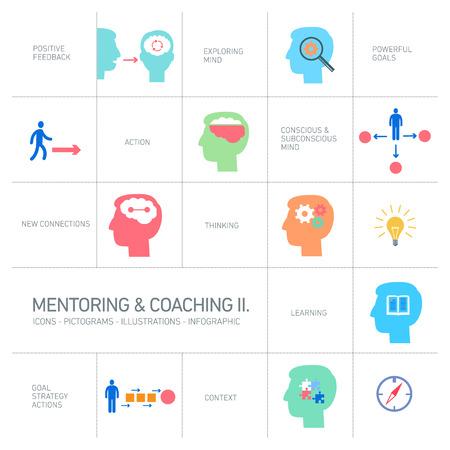 coaching: de mentorat et de coaching soft skills ic�nes sc�nographie plat ilustrations modernes et color�es, infographie isol� sur blanc