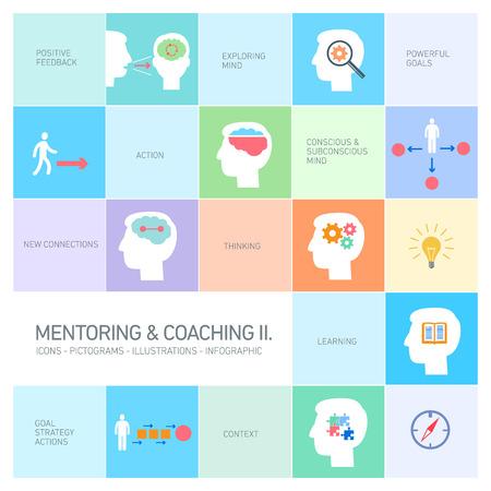 bilinçli: mentorluk ve koçluk yumuşak becerileri simgeler renkli izole infografik modern düz tasarım Geleneksel illüstrasyon seti