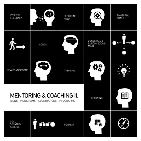 mentoring and coaching soft skills icons set modern flat design white illustrations infographic isolated on black  Vector