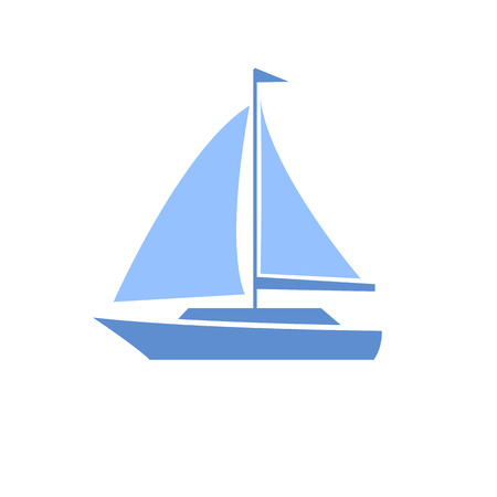flat design sailing yacht boat transportation icon isolated on white  Vector