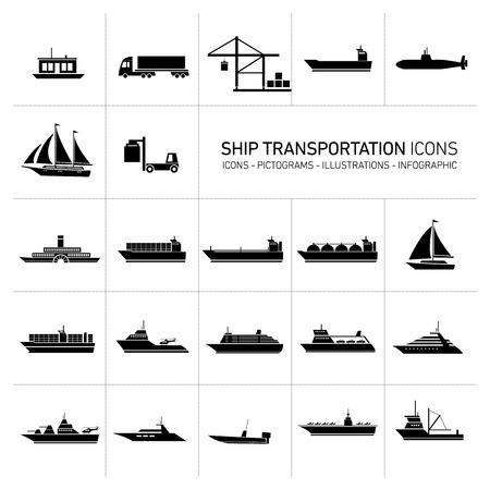platte ontwerp schip en boten vervoer pictogrammen en illustraties set zwarte geïsoleerde o wit