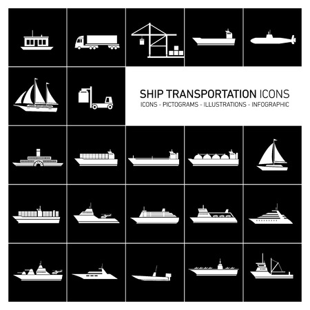 industrial ship: vector flat design ship and boats transportation icons and illustrations set white isolated o black background Illustration