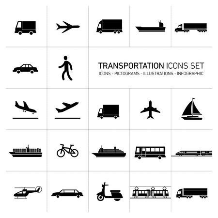 vector platte ontwerp eenvoudig transport pictogrammen instellen en pictogrammen zwarte monochrome illustraties geïsoleerd op witte achtergrond Stock Illustratie