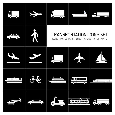 side by side: vector flat design simple transportation icons set and pictograms white isolated on black background