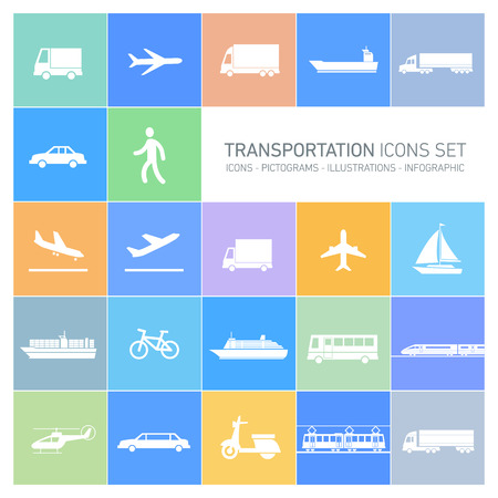 vector flat design simple transportation icons set and pictograms white isolated on colorful background Vector