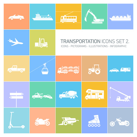 air shipping: vector flat design transportation icons and illustrations set islolated on colorful background Illustration