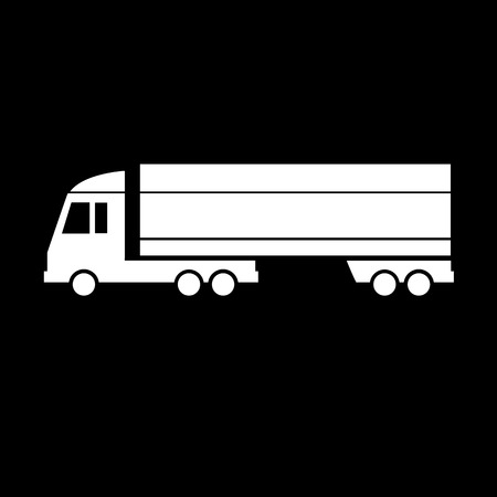 vector flat design truck transportation icon isolated on blak background Vector