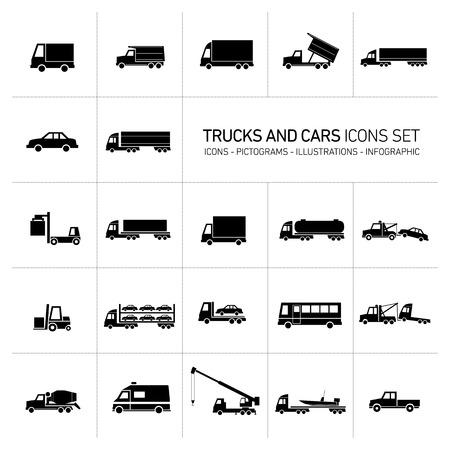 vector platte ontwerp vrachtwagens en auto transport en verzending van pictogrammen set moderne zwarte illustraties geïsoleerd op witte achtergrond Stock Illustratie