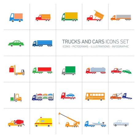 Vektor-flaches Design Lkw und Pkw Transport-und Versand Symbole gesetzt modernen bunten Illustrationen auf weißem Hintergrund
