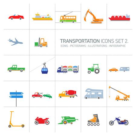 cosechadora: diseño plano transporte iconos vectoriales moderno colorido e ilustraciones que figuran islolated sobre fondo blanco