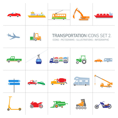 colorful modern vector flat design transportation icons and illustrations set islolated on white background Illustration