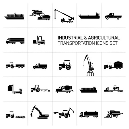 deere: vector industrial and agricultural icons set | modern flat design abstract illustration collection black isolated on white background Illustration