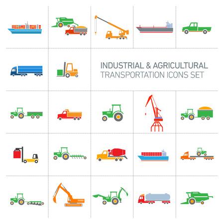 combinar: iconos vectoriales industriales y agrícolas conjunto | diseño plano moderno colorido resumen ilustración colección aislados en fondo blanco
