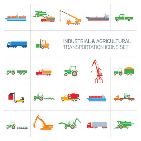 vector industrial and agricultural icons set | colorful modern flat design abstract illustration collection isolated on white background