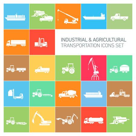 labranza: iconos industriales y agrícolas conjunto de vectores | colección diseño plano abstracto moderno ilustración en blanco aislado en el fondo de colores Vectores