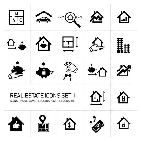 Vector conjunto de iconos de bienes raíces modernos pictogramas de diseño plano negro aislado sobre fondo blanco.