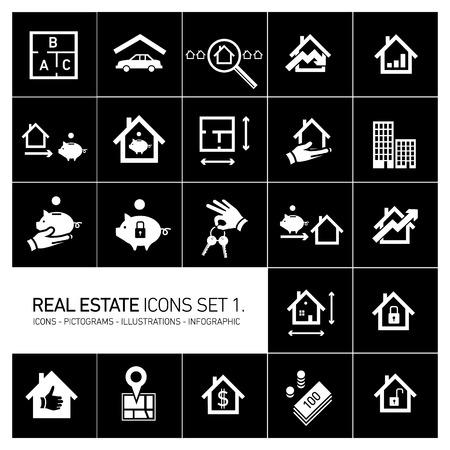 Vektor Immobilien Symbole gesetzt moderne flache Design Piktogramme weiß auf schwarzem Hintergrund isoliert