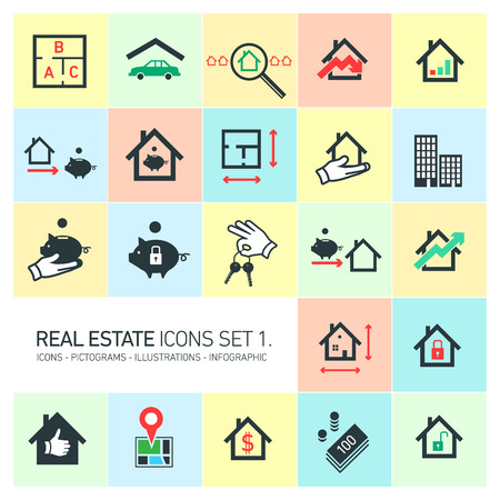 decreasing in size: vector real estate icons set modern flat design pictograms isolated on colorful background