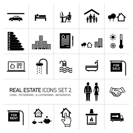 vector real estate icons set modern flat design pictograms black isolated on white background Vettoriali