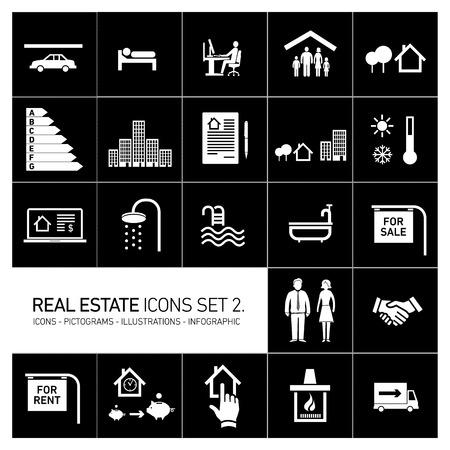 vector real estate icons set modern flat design pictograms white isolated on black background Illustration