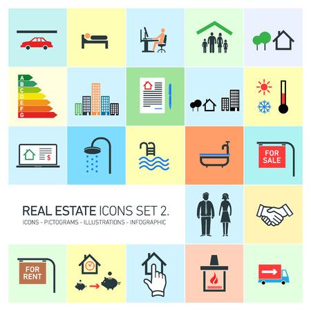 vector iconos de bienes raíces moderno conjunto de pictogramas de diseño de plano sobre el fondo de colores