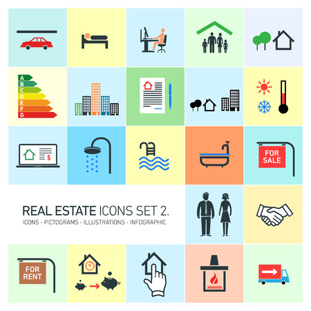 for rent: vector real estate icons set modern flat design pictograms on colorful background