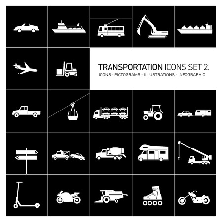 vector flat design transportation icons and illustrations set white islolated on black background