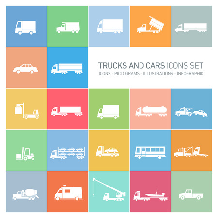 vector flat design trucks and cars transportation and shipping icons set modern white illustrations isolated on colorful background Illustration