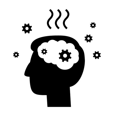 personality development: vector abstract flat design burnout icon head break gears inside brain | black pictogram separated on white background
