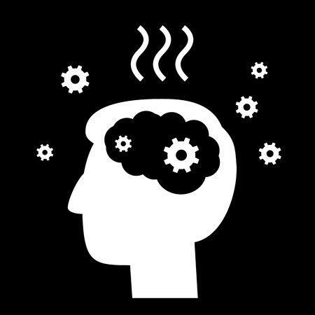 personality development: vector abstract flat design burnout icon head break gears inside brain | white pictogram separated on black background Illustration