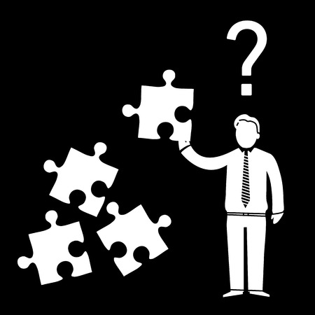 personality development: vector abstract flat design confused businessman icon with puzzle in his hand and question mark above   white pictogram separated on black background