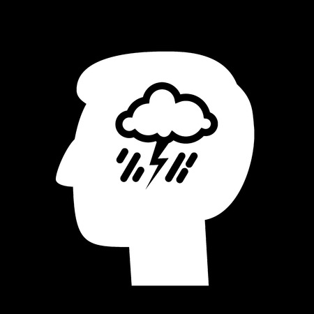 personality development: vector abstract flat design depression icon head with storm and rain inside brain | white pictogram separated on black background