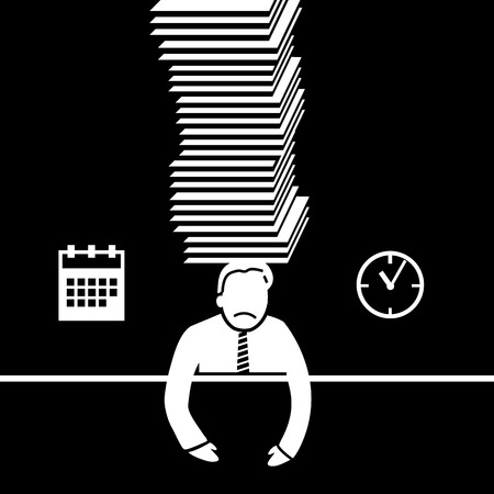 under pressure: vector abstract flat design businessman icon under pressure because of deadline white pictogram separated on black background