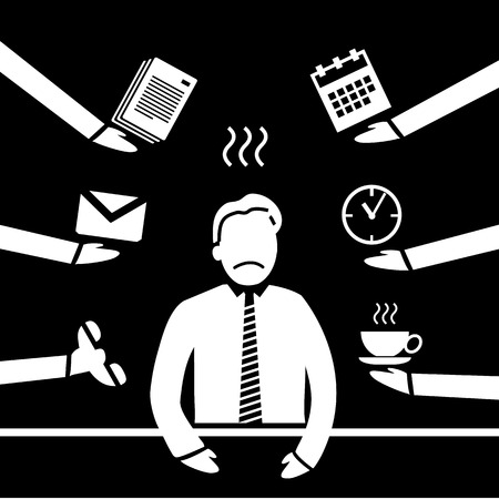 personality development: vector abstract flat design stressed and depressed businessman in his office icon white separated on black background