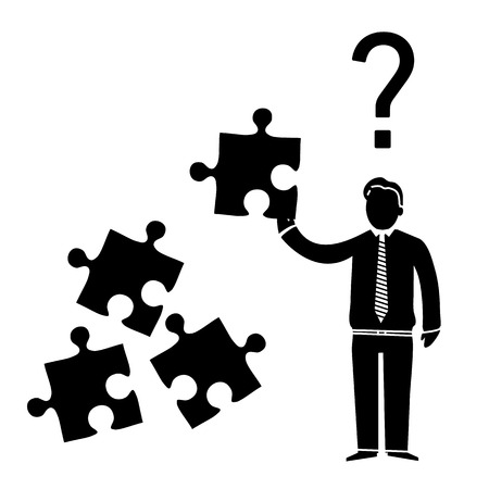 inquiry: vector abstract flat design confused businessman icon with puzzle in his hand and question mark above | black pictogram separated on white background