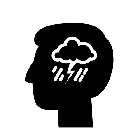 personality development: vector abstract flat design depression icon head with storm and rain inside brain | blackpictogram separated on white background