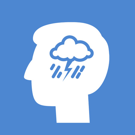 personality development: vector abstract flat design depression icon head with storm and rain inside brain | white pictogram separated on blue background