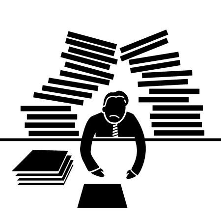 ベクトル抽象的なフラット デザイン働きすぎるビジネスマン アイコンの仕事と彼の頭黒ピクトグラムの白い背景の上で区切られた上に落ちる